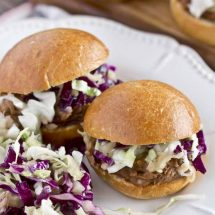 Slow Cooker Barbecue Pulled Pork Sliders & Pineapple Slaw