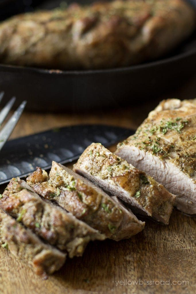 Pan Roasted Pork Tenderloin - Tender, juicy and so flavorful. Ready in under 30 minutes makes it a perfect weeknight dinner!