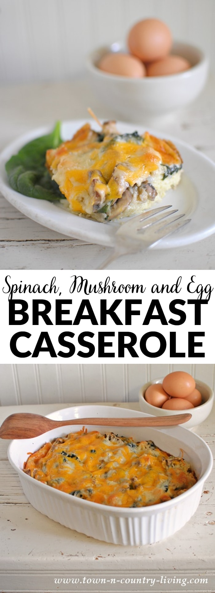 Spinach, Mushroom and Egg Breakfast Casserole