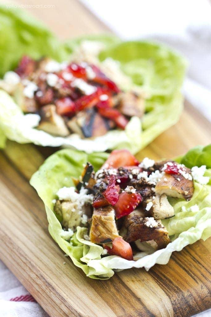 Strawberry & Balsamic Chicken Lettuce Wraps