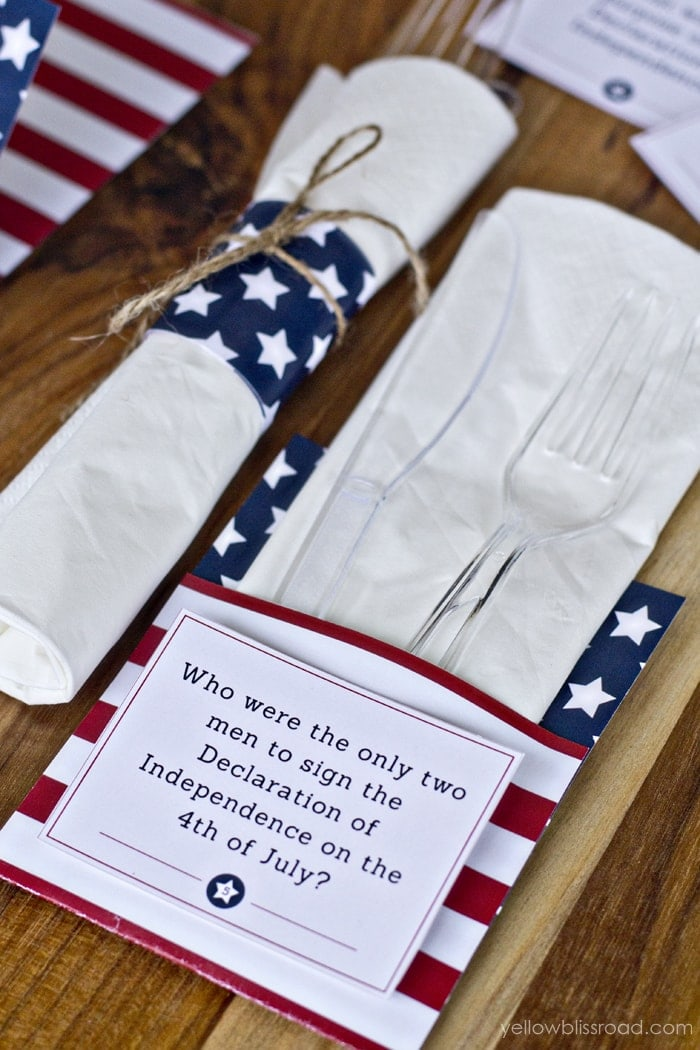 photograph relating to 4th of July Trivia Printable called Totally free Printable 4th of July Trivia Playing cards Utensil Holders