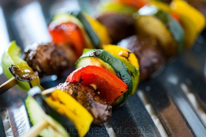Grilled veggie kebabs