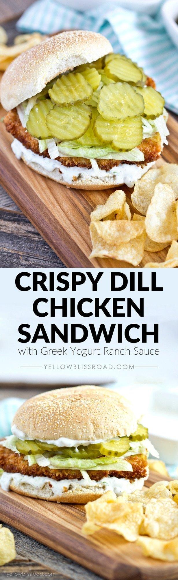 Crispy Dill Chicken Sandwich with Greek Yogurt Ranch Spread