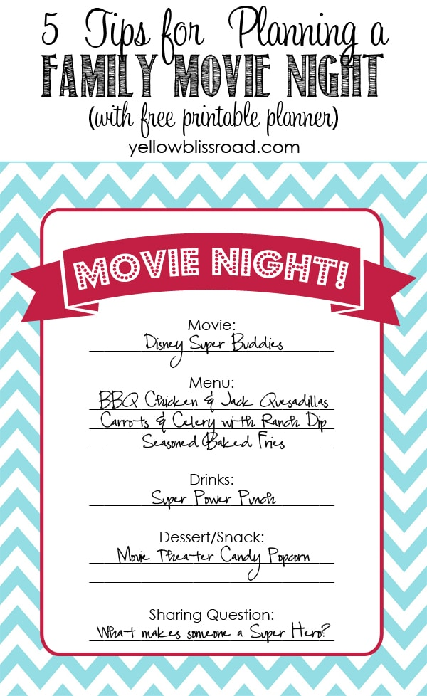 Five tips for starting your own family movie night tradition - with a free printable planner to help get you started!
