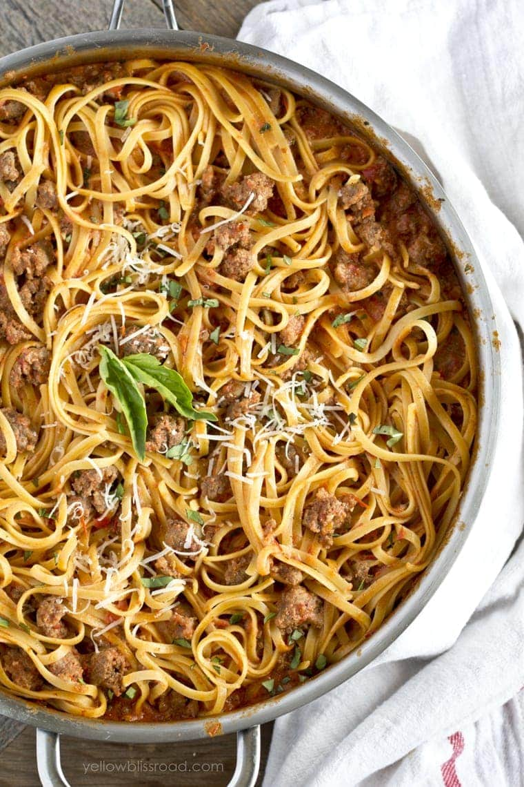 Weeknight Bolognese overhead