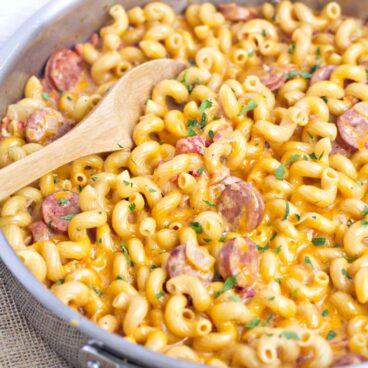 A pan of Chicken Sausage and Macaroni