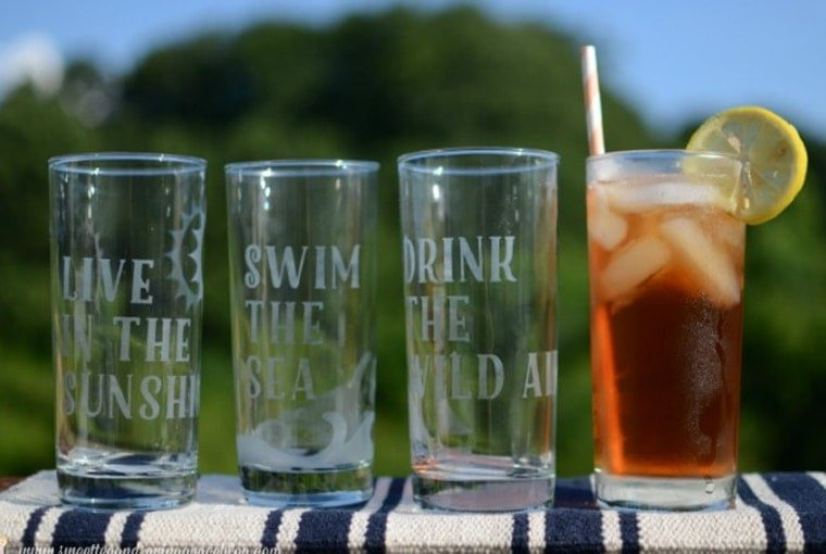 Etched Glass Summer Glassware Set