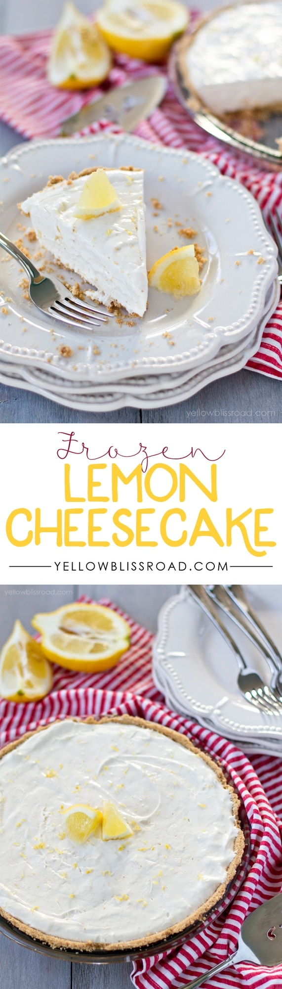 5 Ingredient Frozen Lemon Cheesecake - Perfectly tart and sweet and perfect for summer!