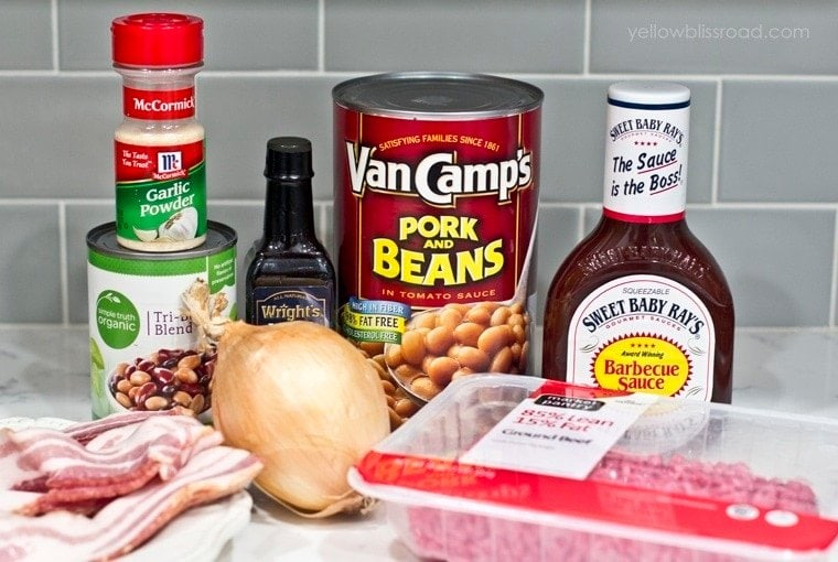 Ingredients needed to make baked cowboy beans