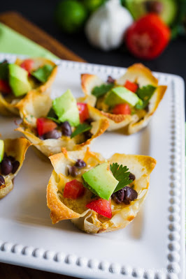 A plate of Enchilada cups