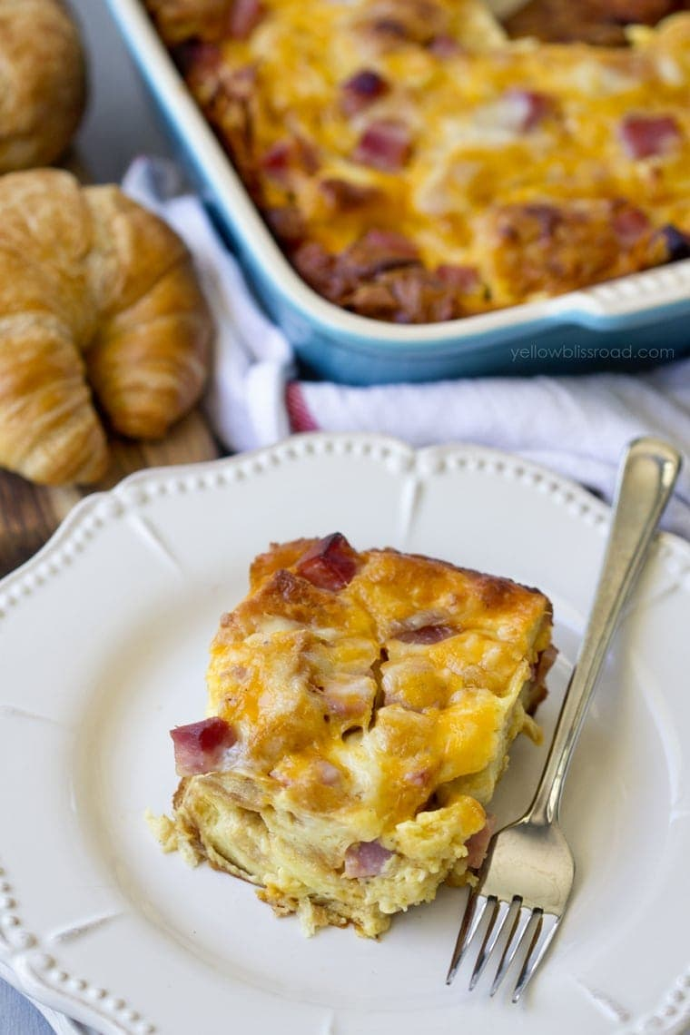 Ham & Cheese Croissant Breakfast Casserole