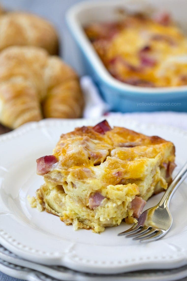 Ham And Cheese Croissant Breakfast Casserole