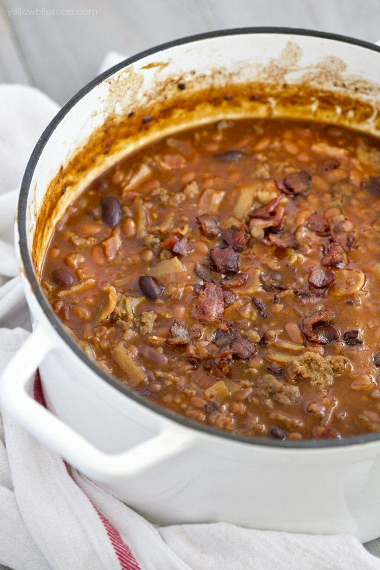 Hearty Baked Beans aka cowboy beans in a large soup pot.
