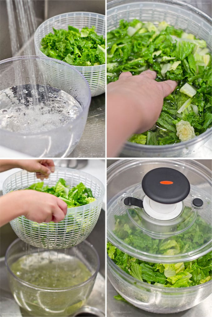 4 image collage depicting how to wash lettuce