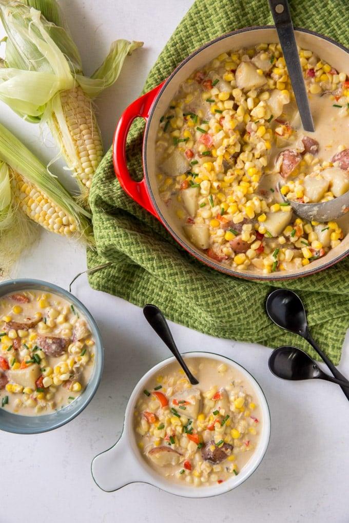 Bowls full of Corn Chowder
