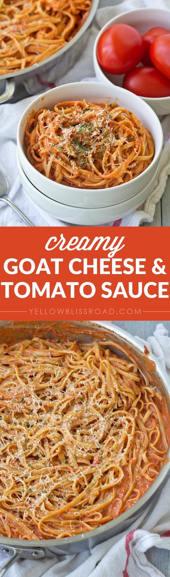 Creamy Goat Cheese & Tomato Sauce - Just two ingredients in this rich and creamy sauce!