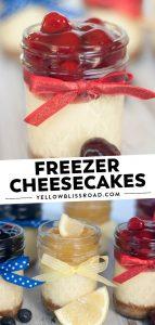 Social media image of freezer cheesecakes