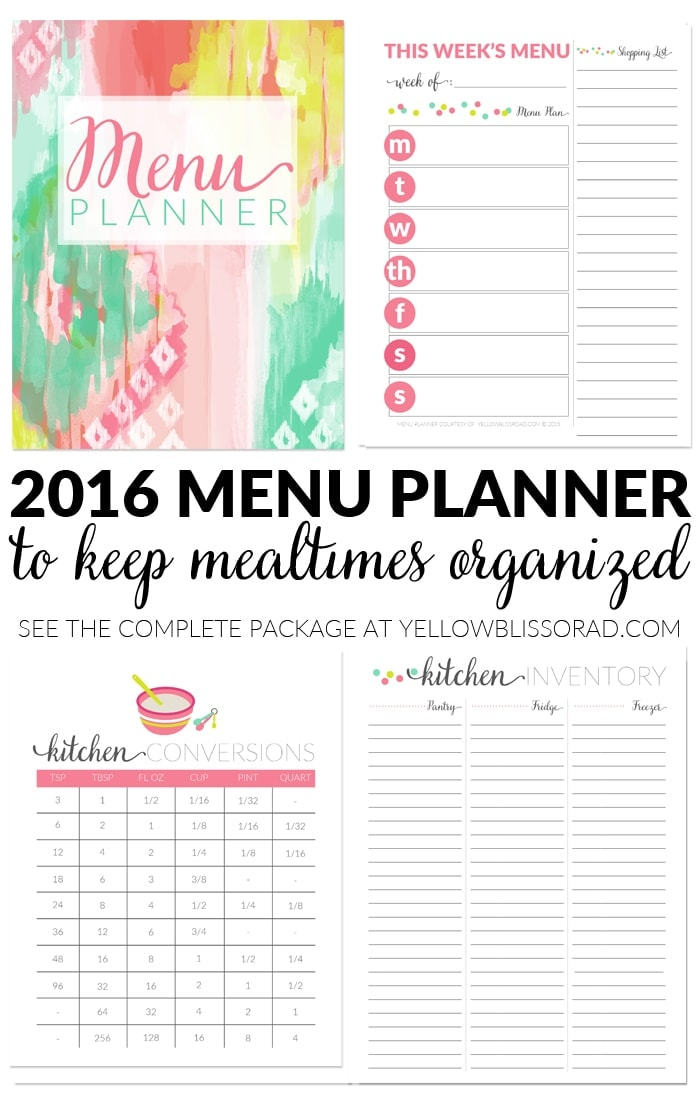 2016 Menu Planner in Watercolor Ikat