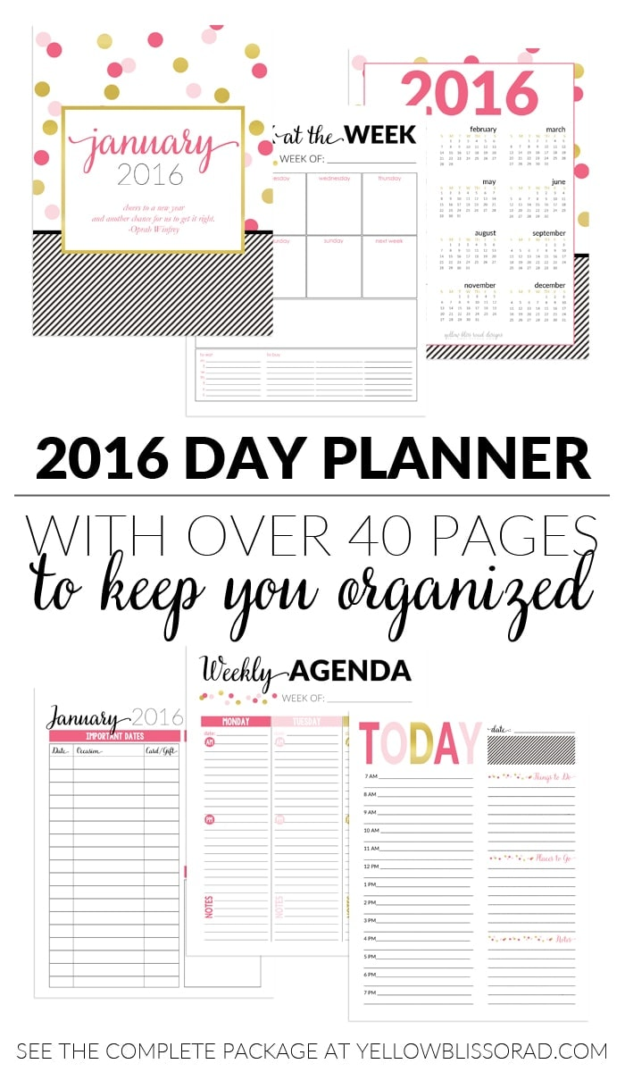 2016 pink & chic day planner to keep you organized