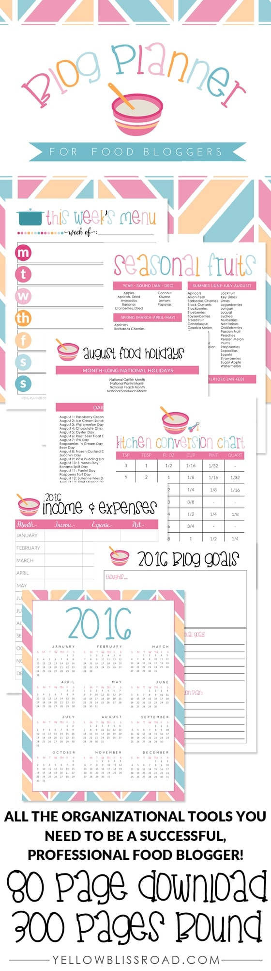 Blog Planner just for Food Bloggers! All the tools you need to get organized and stay organized as a professional food blogger