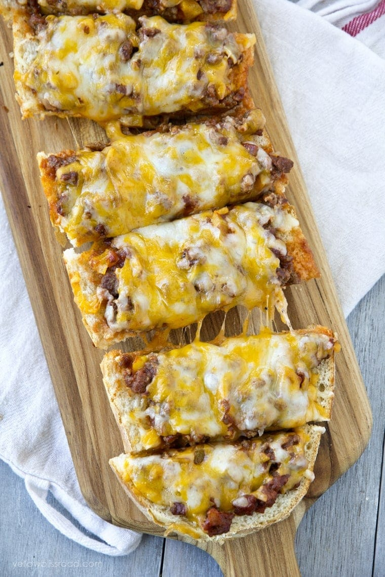 Cheesy Sloppy Joe French Bread Pizza