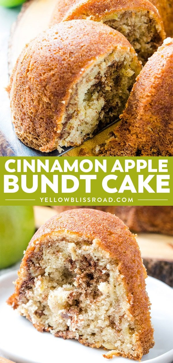 Cinnamon Apple Bundt Cake collage of two photos with text.