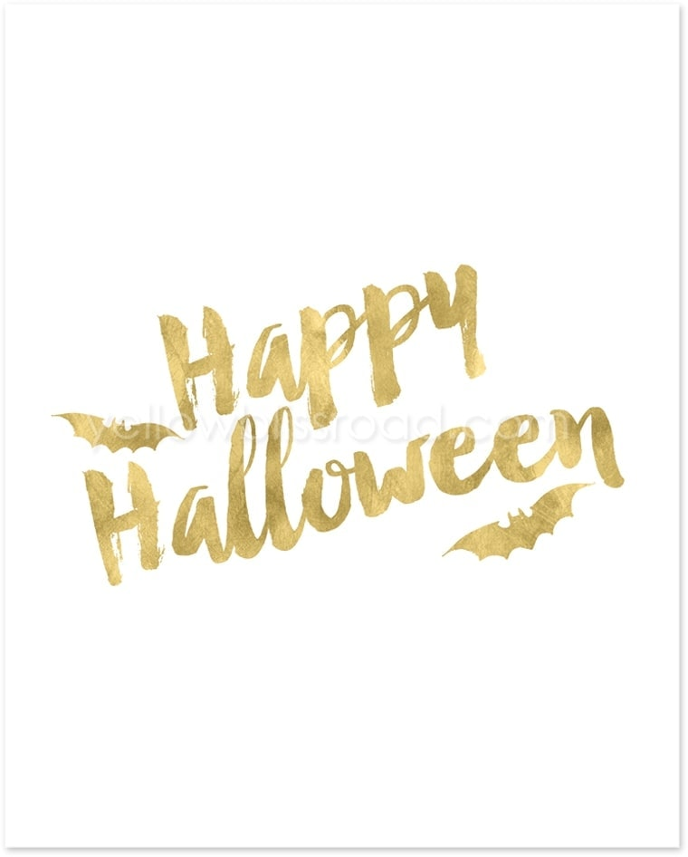 Gold Halloween printable - part of the gold Halloween Collection from Yellow Bliss Road