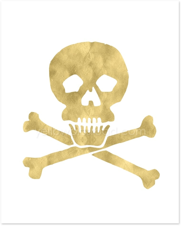 Gold Skull printable - part of the gold Halloween Collection from Yellow Bliss Road