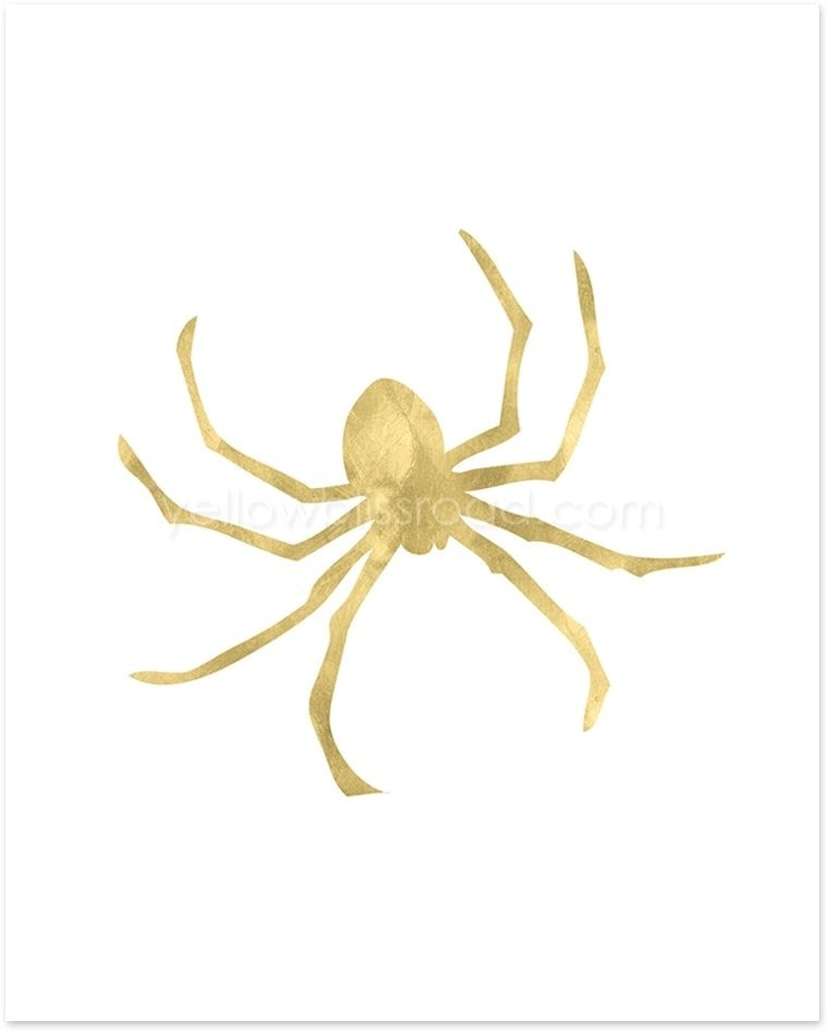 Gold Spider printable - part of the gold Halloween Collection from Yellow Bliss Road
