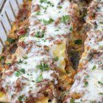 A large dish of lasagna