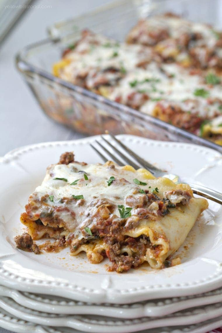 Lasagna Roll Ups with Hidden Veggies Meat Sauce