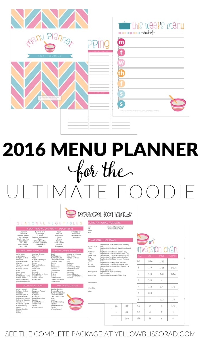 Menu Planner for the Ultimate Foodie