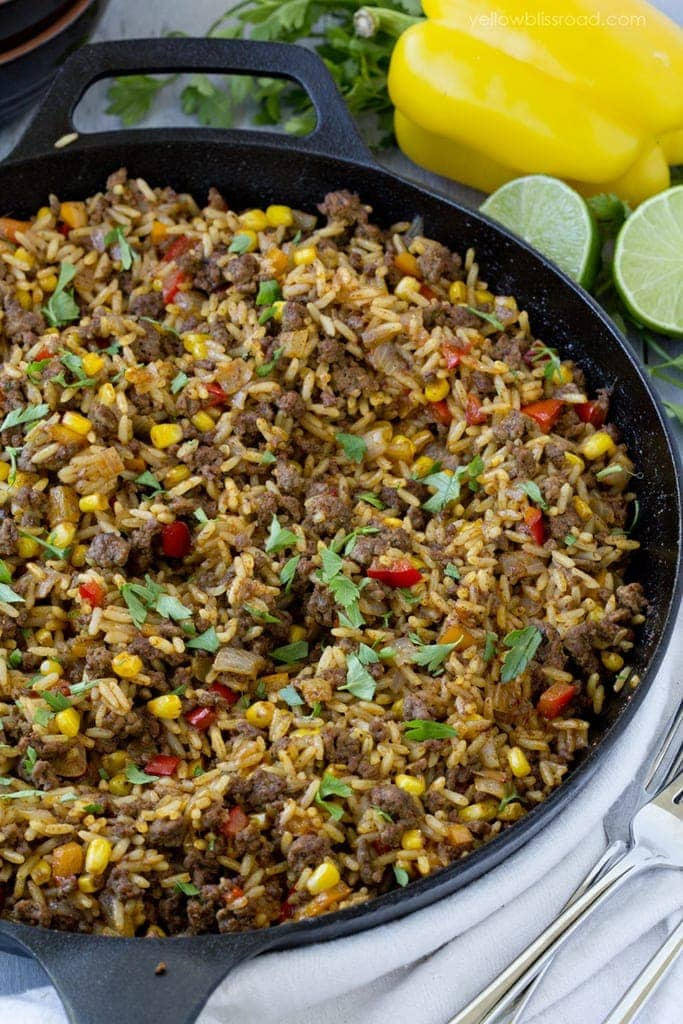 One Pan Tex Mex Beef and Rice