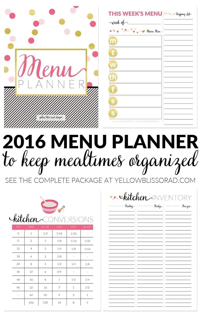 Pink & Chic Menu Planner 2016