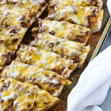 A tray of french bread pizza
