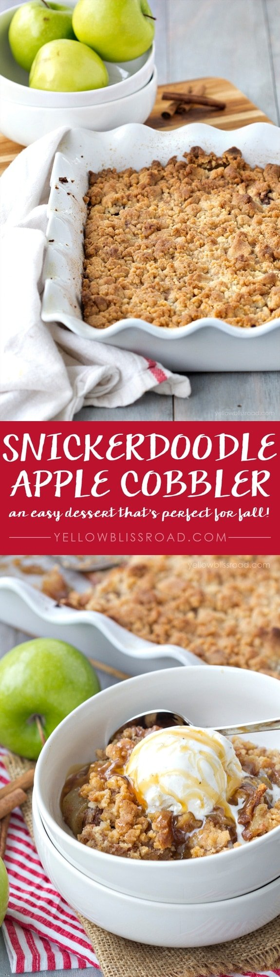Snickerdoodle Apple Cobbler - Just a few ingredients are needed to make this fresh, delicious dessert that's perfect for fall!