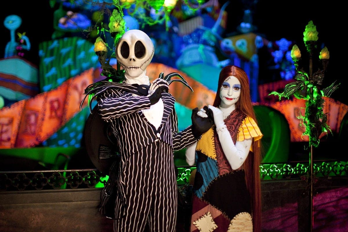 "HAUNTED MANSION HOLIDAY (ANAHEIM, Calif.) – Jack Skellington, Sally and memorable characters from Tim Burton's ""The Nightmare Before Christmas"" spread holiday cheer with an eerie twist at Disneyland park at Haunted Mansion Holiday. The Diamond Celebration continues as guests celebrate Halloween Time at the Disneyland Resort from Sept. 11 through Nov. 1, 2015 with dazzling entertainment and decor, in addition to the return of Haunted Mansion Holiday and Space Mountain Ghost Galaxy. This year, the family-friendly Mickey's Halloween Party expands to 17 nights throughout the season at Disneyland park, where guests are invited to trick-or-treat in costume, celebrate with favorite Disney characters and enjoy special presentations of the ""Halloween Screams"" fireworks spectacular and the all-new ""Paint the Night"" parade. (Paul Hiffmeyer/Disneyland Resort)"