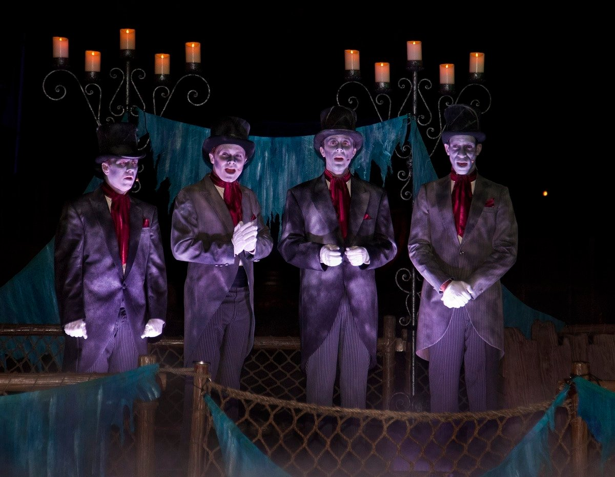 CADAVER DANS (ANAHEIM, Calif.) - The Cadaver Dans quartet performs spooky songs and ghoulish Halloween tunes as they drift through the Rivers of America, part of Mickeys Halloween Party during Halloween Time at the Disneyland Resort. The season runs from Sept. 11 through Nov. 1, 2015, with 17 nights dedicated to the family-friendly Mickeys Halloween Party, a time for guests to trick-or-treat in costume and enjoy special presentations of the Halloween Screams fireworks spectacular and the all-new Paint the Night parade. The Diamond Celebration continues as guests celebrate the Halloween season with dazzling entertainment and decor, in addition to the return of Haunted Mansion Holiday and Space Mountain Ghost Galaxy. (Paul Hiffmeyer/Disneyland Resort)