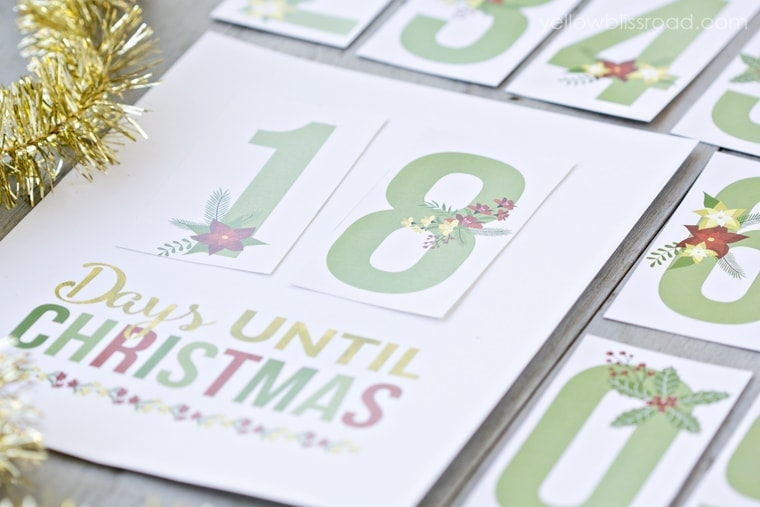 picture about Christmas Countdown Printable named Cost-free Printable Xmas Countdown - Yellow Bliss Highway