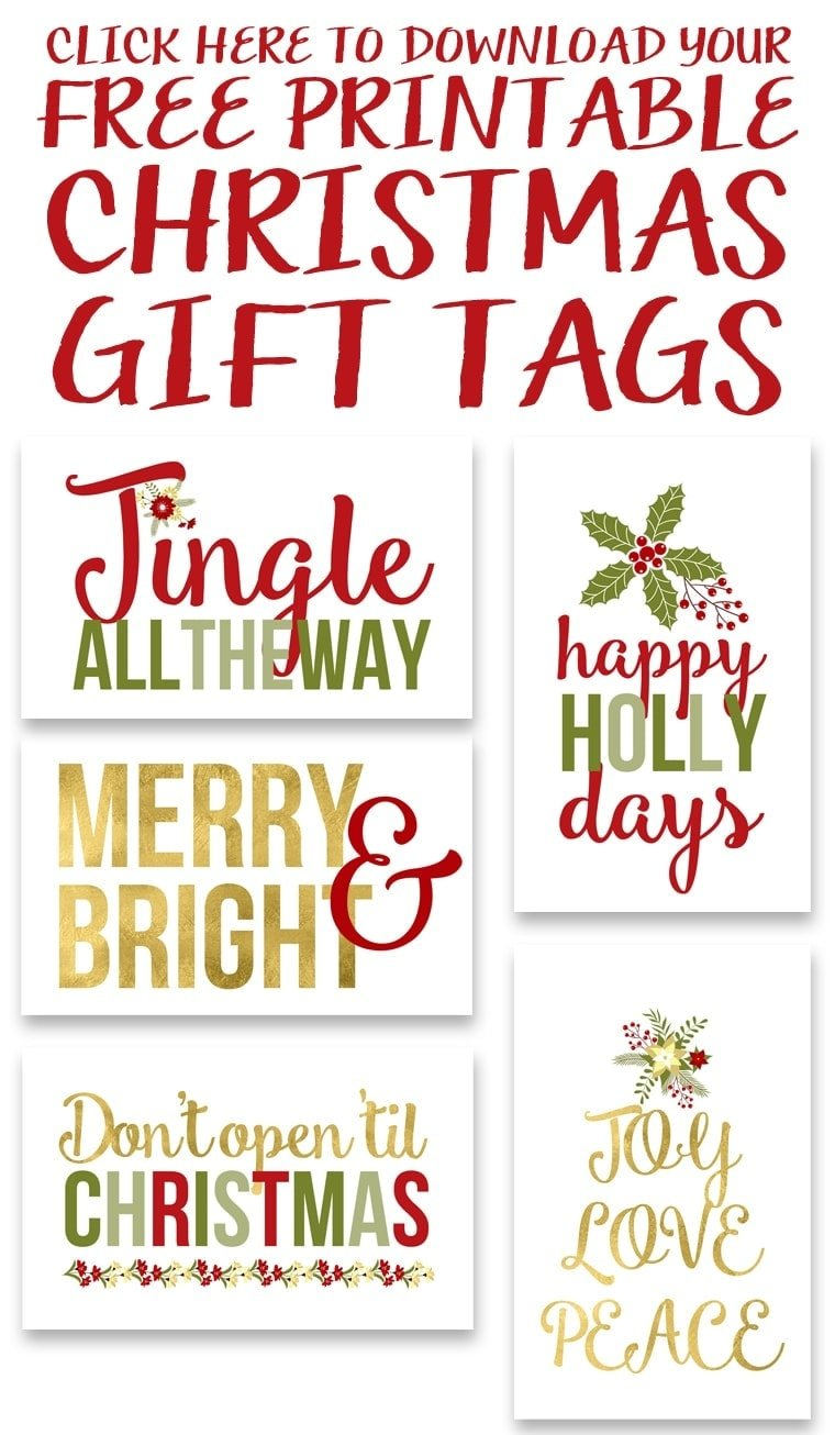 click to download the free printable christmas gift tags - Printable Christmas Name Tags