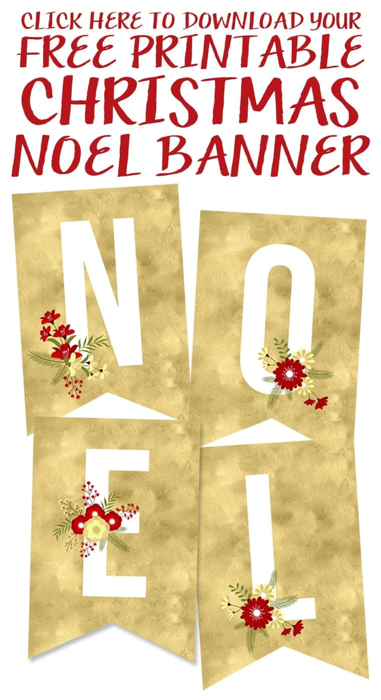 photo relating to Free Printable Christmas Banner named No cost Printable Noel Banner - Yellow Bliss Street