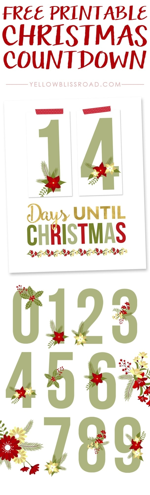 graphic regarding Countdown Printable identify Cost-free Printable Xmas Countdown - Yellow Bliss Highway