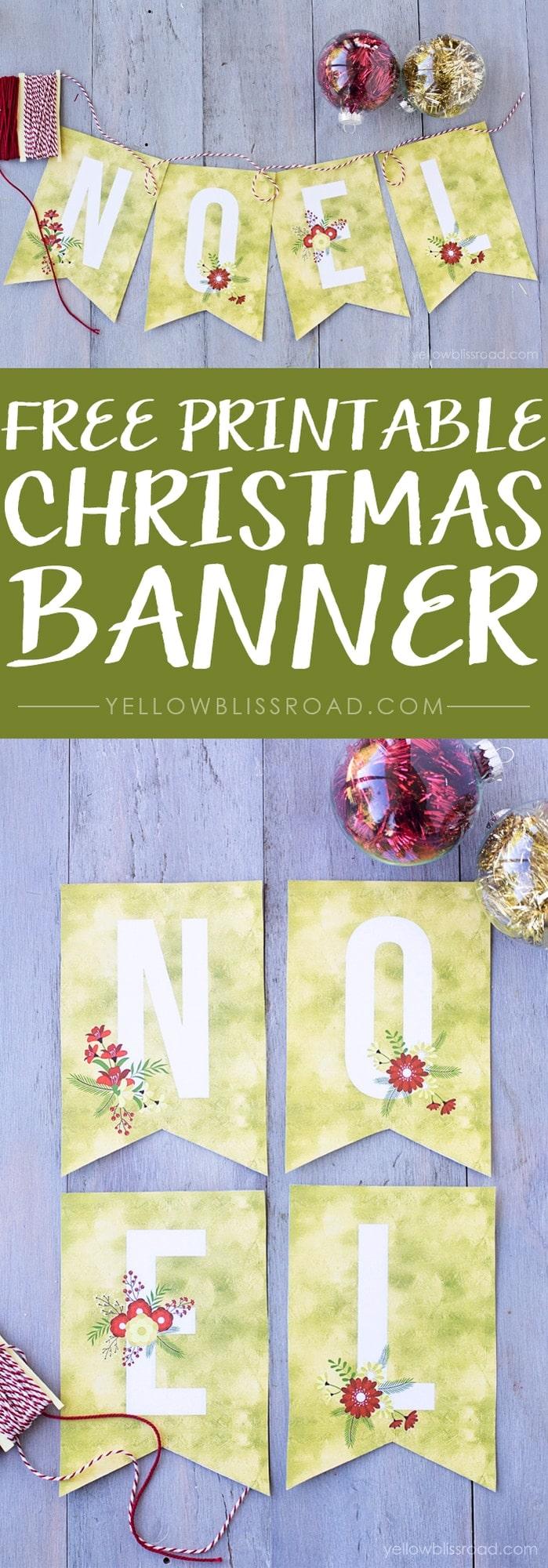 Free printable Noel Banner