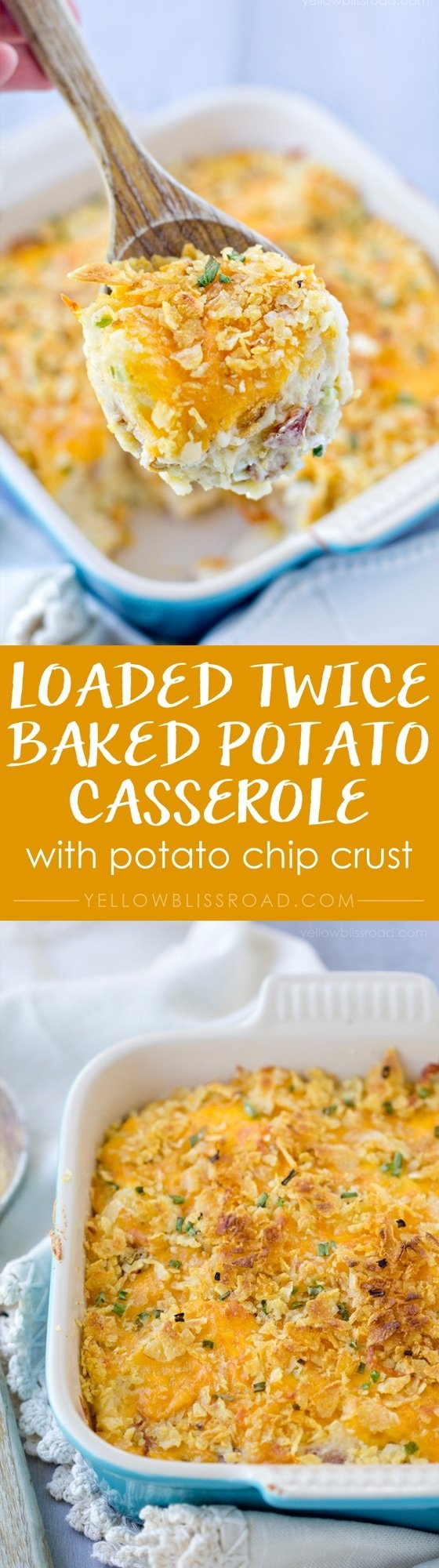 Loaded Twiced Baked Potato Casserole with Potato Chip Crust