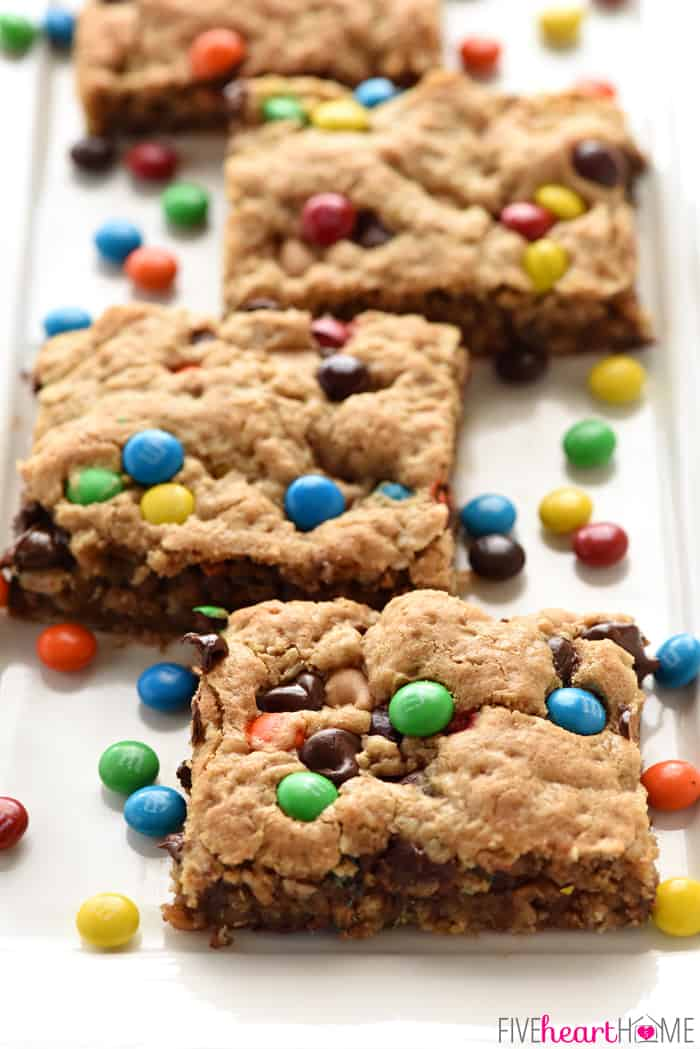 A close up of Monster Cookie Bars