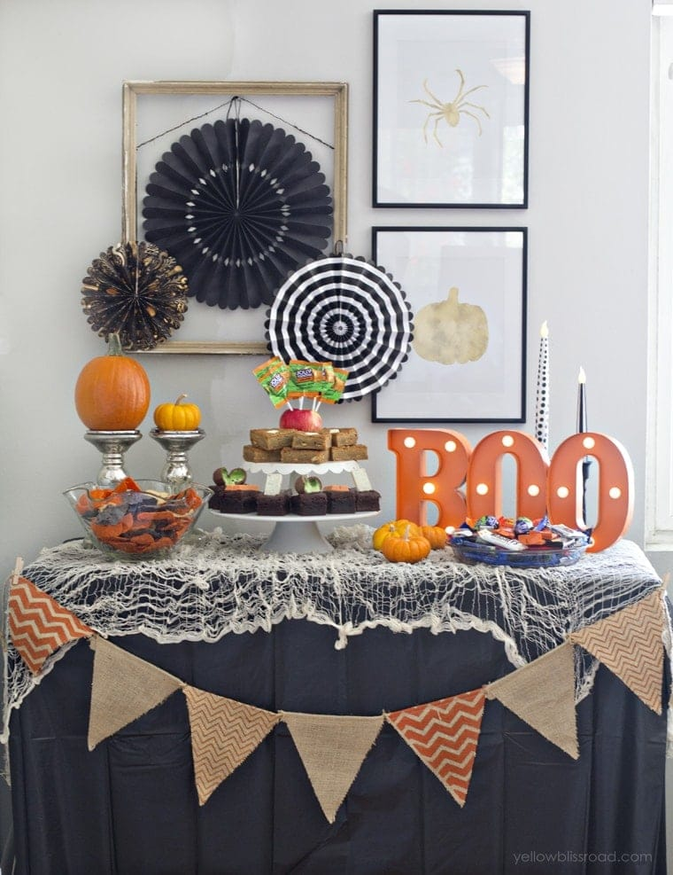 Non-Spooky Halloween Party Dessert Table
