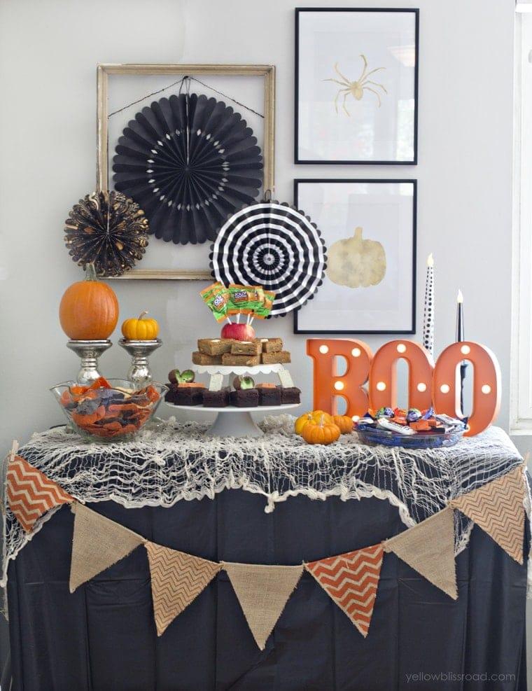 Non-Spooky Halloween Party Dessert Table