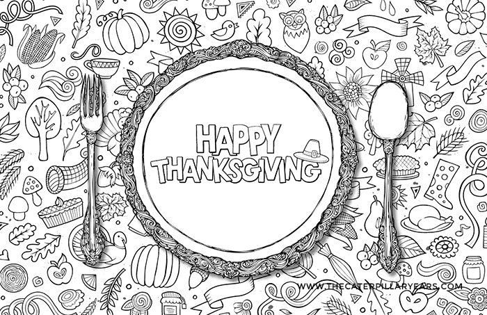 photograph relating to Free Printable Thanksgiving Placemats called Cost-free Printable Thanksgiving Young children Desk - Yellow Bliss Street