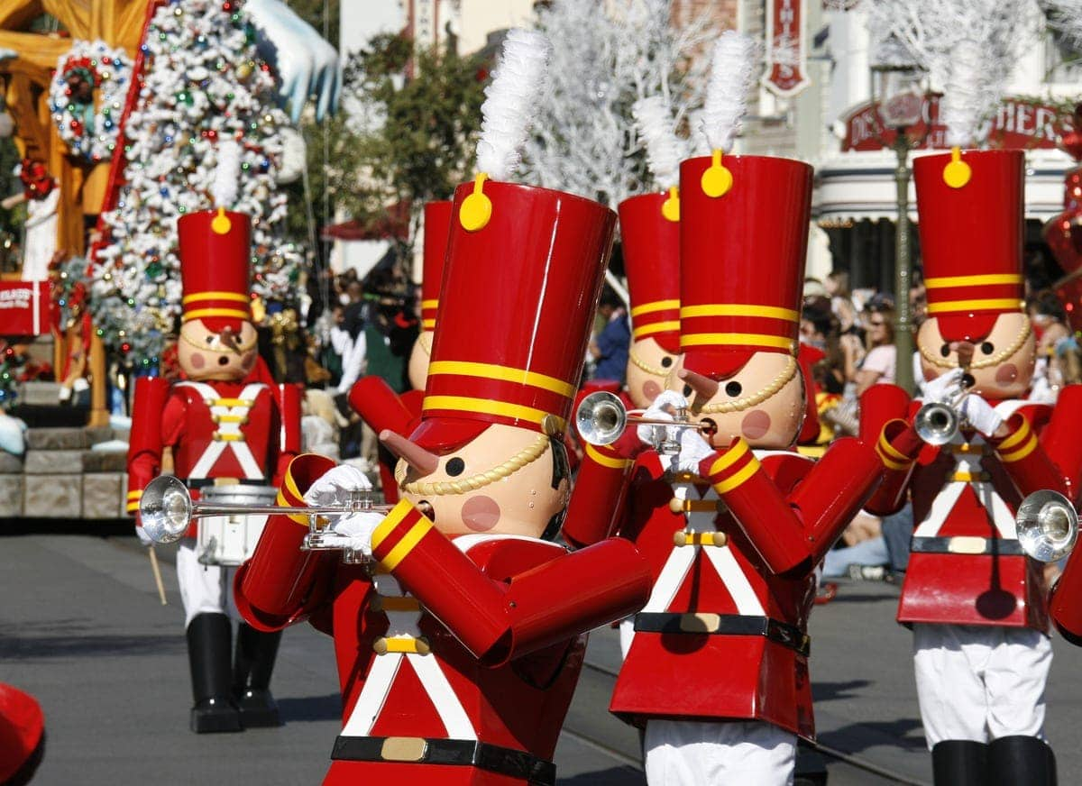 A CHRISTMAS FANTASY PARADE (ANAHEIM, Calif.)  Toy soldiers celebrate the season as they march down Main Street, U.S.A. in A Christmas Fantasy parade during Holidays at the Disneyland Resort, returning Nov. 13 through Jan. 6, 2016. In celebration of the season, Disneyland park transforms into a dazzling winter wonderland with festive décor, holiday-themed treats and attractions transformed for the season of its a small world Holiday and Haunted Mansion Holiday. This year, the Diamond Celebration adds even more sparkle to the exciting entertainment, which includes A Christmas Fantasy parade, Disney ¡Viva Navidad!, Paint the Night and the Disneyland Forever fireworks spectacular. (Paul Hiffmeyer/Disneyland Resort)