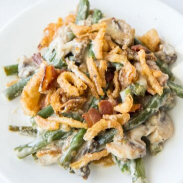 A plate of Green Bean Casserole with bacon